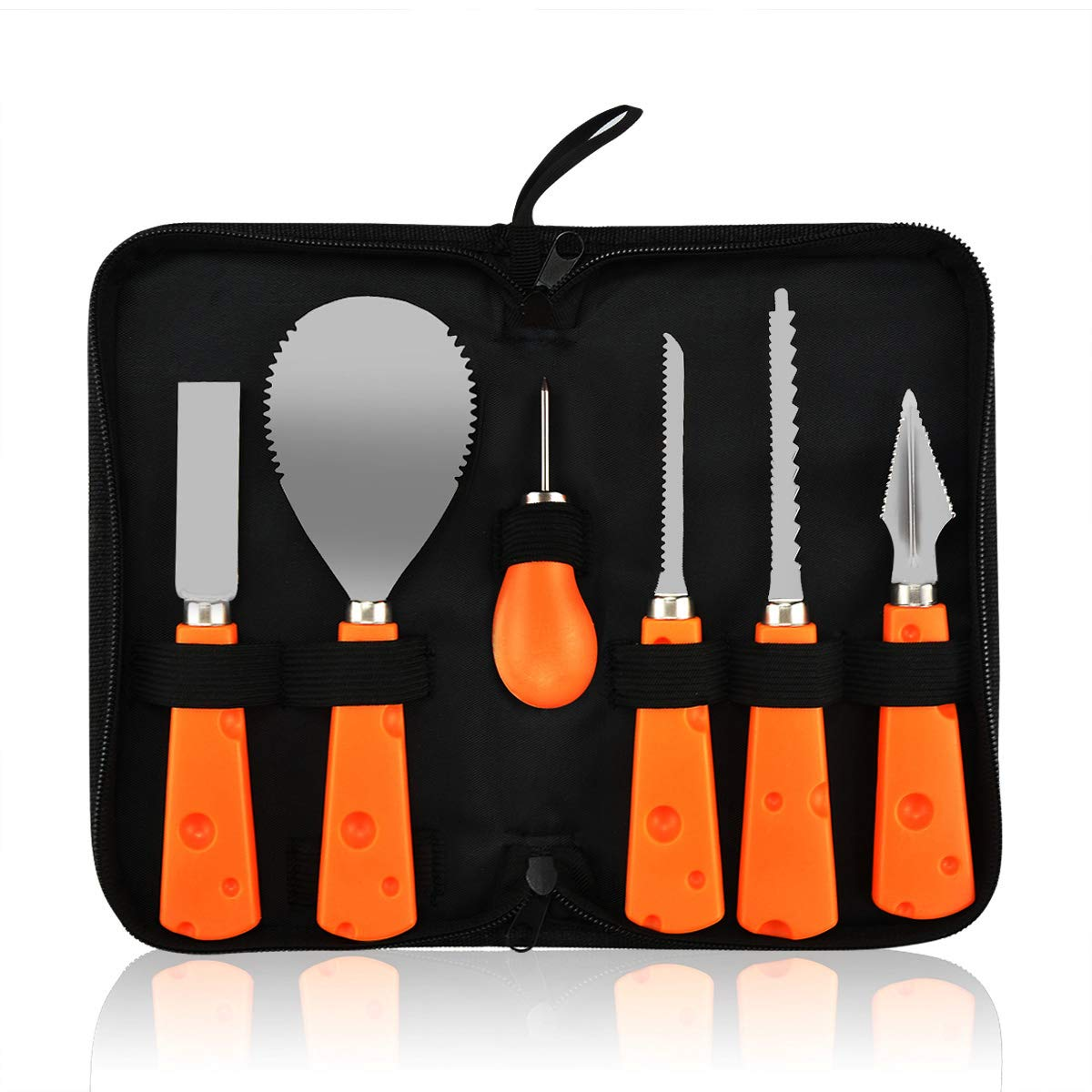 BOENFU Pumpkin Carving Tools Kit, Heavy Duty Stainless Steel Pumpkin Tools Easily Carve Sculpt Halloween Jack-O-Lanterns with Carrying Case (6 Pcs Set)