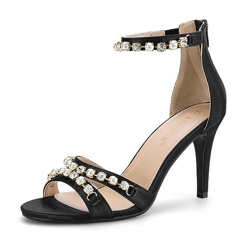 3372f6f605230 Allegra K Women s Rhinestone Pearls Ankle Strap Stiletto Heel Sandals Black  4 UK Label Size