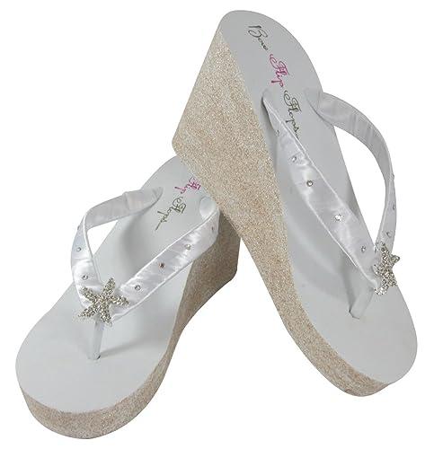 Amazon.com  White 3.5 inch Wedge Flip Flops Starfish Embellishment ... 07c5acd9c4