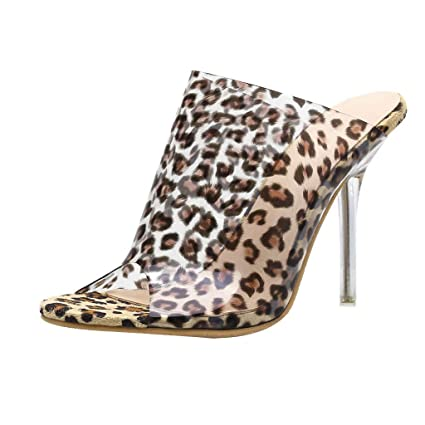 b0953fd45 Women Leopard Slippers Transparent High Heels Crystal Fashion Sandals Shoes  (Brown