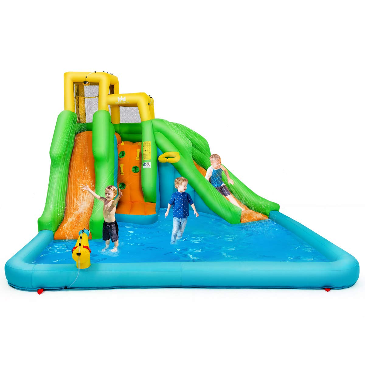 BOUNTECH Inflatable Bounce House, Mighty Water Pool with Two Slides, Climbing Wall, Basketball Rim, Splash Pool, Water Cannon, Including Oxford Carry Bag, Repairing Kit, Stakes, Hose (Without Blower)