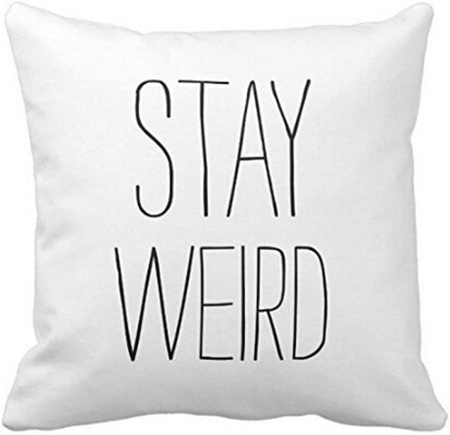 Leaveland Sofa Bed Home Decor Festival Funny Quotes Polyester Throw Pillow Case Cushion Cover (Stay Weird) (18x18inch)