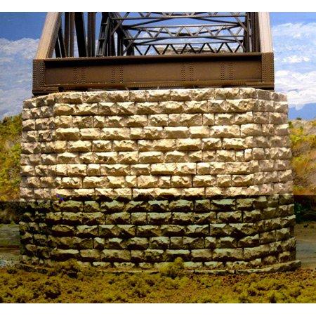 Cut Stone Bridge (Chooch Enterprises HO Scale Cut Stone Double Track Bridge Pier, Painted)