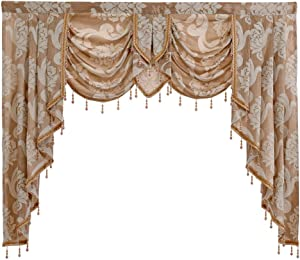 "NAPEARL European Style Luxury Waterfall Valance Living Room Window Decoration (1 Valance 61""Wx49""L, Beige)"