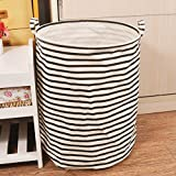 Ducklingup Clothing Laundry Collapsible Round Black Striped Laundry Basket Waterproof Coating Ramie Cotton Fabric Hamper Storage Bag / Laundry Bag / Laundry Hamper stripes Sorter For Office, Bedroom, Closet, Toys, Laundry (C)