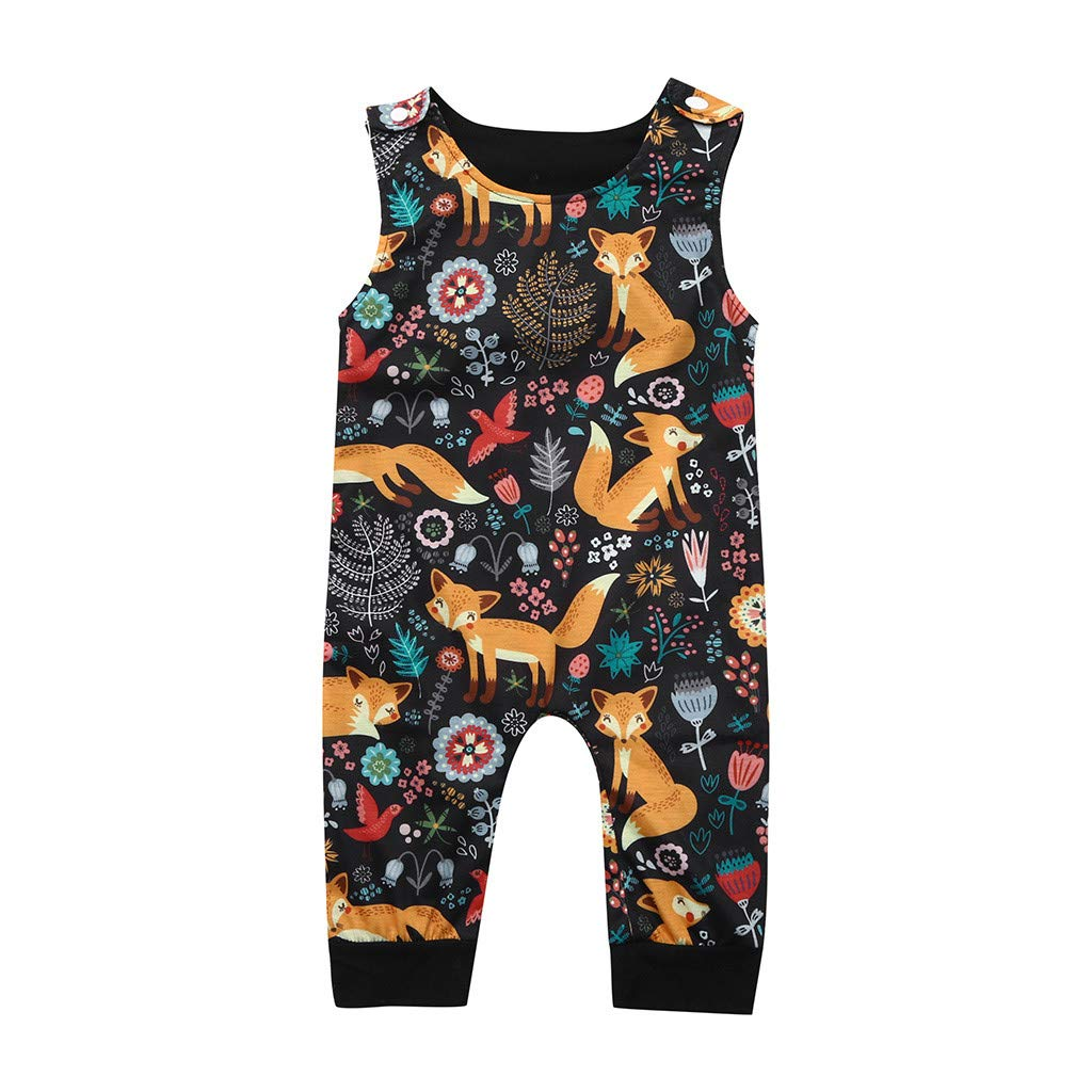 NUWFOR Newborn Infant Baby Girl Boy Cartoon Sleeveless Romper Jumpsuit Outfits Clothes(Multicolor,0-3 Months)