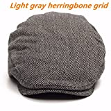 OUTERDO Mens Authentic Tweed Flat Cap Outdoor Leisure Wool Flat Cap Shooting Hat Flat Beret Size L