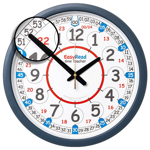 EasyRead Time Teacher ERCC-DIG Classroom Wall Clock 35cm Diameter 12//24 Hour Face