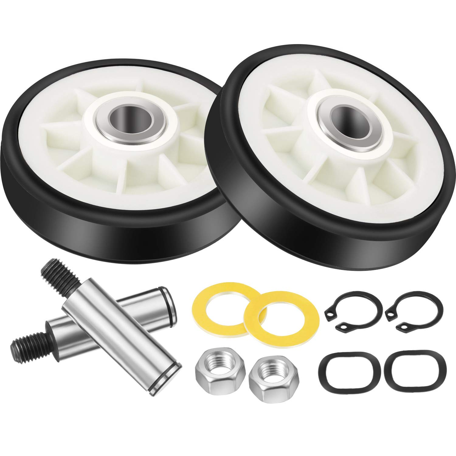 Jetec 2 Set 303373K Dryer Roller Wheel Drum Support Kit Including Dryer Drum Support Roller and Axle Replaces 303373, 12001541, ER303373K, 303373K