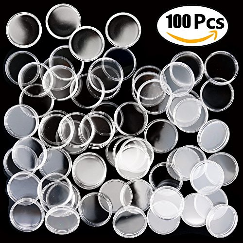 Plastic Coin Cases (100PCS Oopsu Coin Storage Container Box Coin Round Case Transparent Gaine 27mm Plastic Box Coin Holder Capsules Containe)