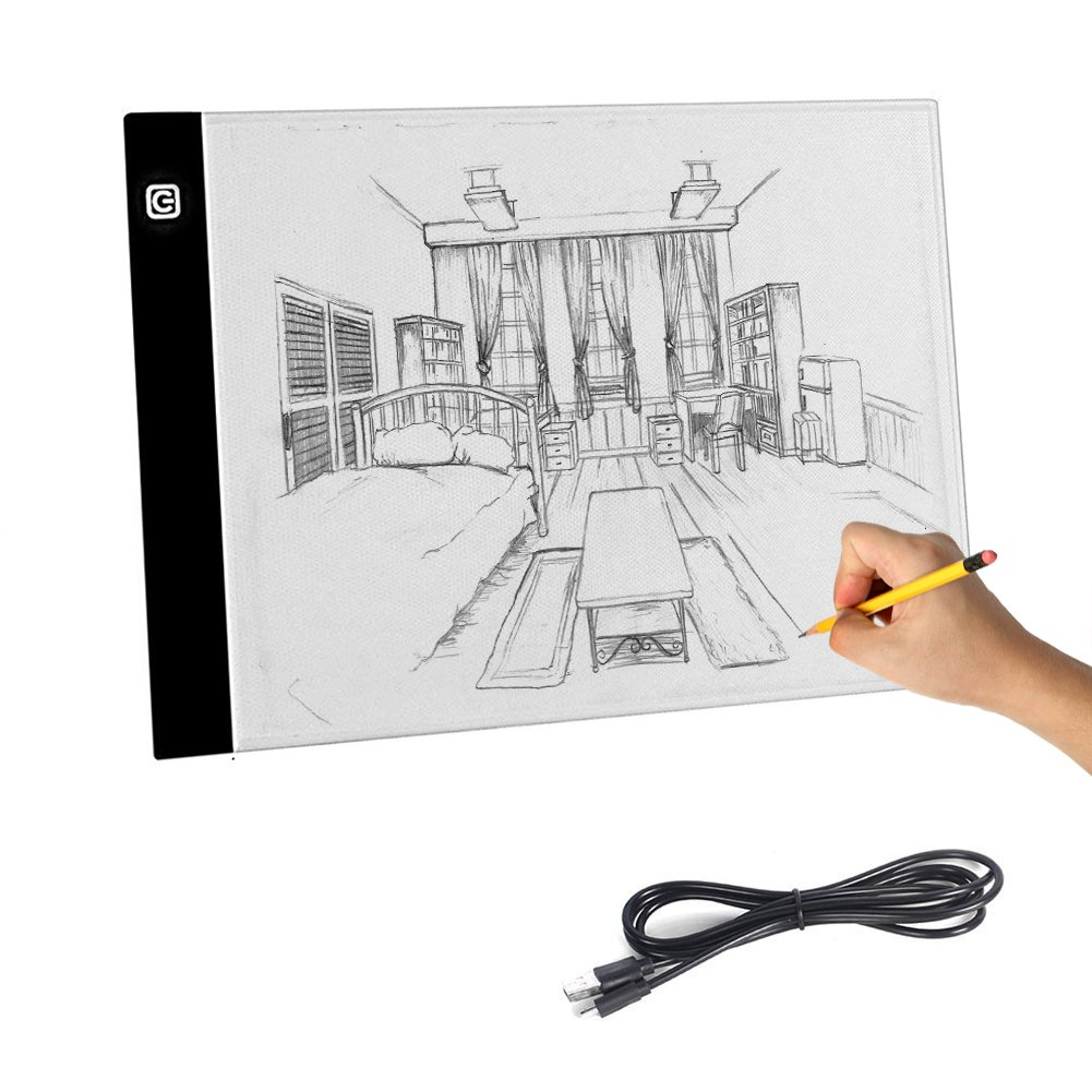 Aorious A4 LED Tracing Light Box, Ultra-thin Artcraft Tracing Light Pad Dimmable Brightness USB Powered Artists Light Box for Animation Sketching Drawing