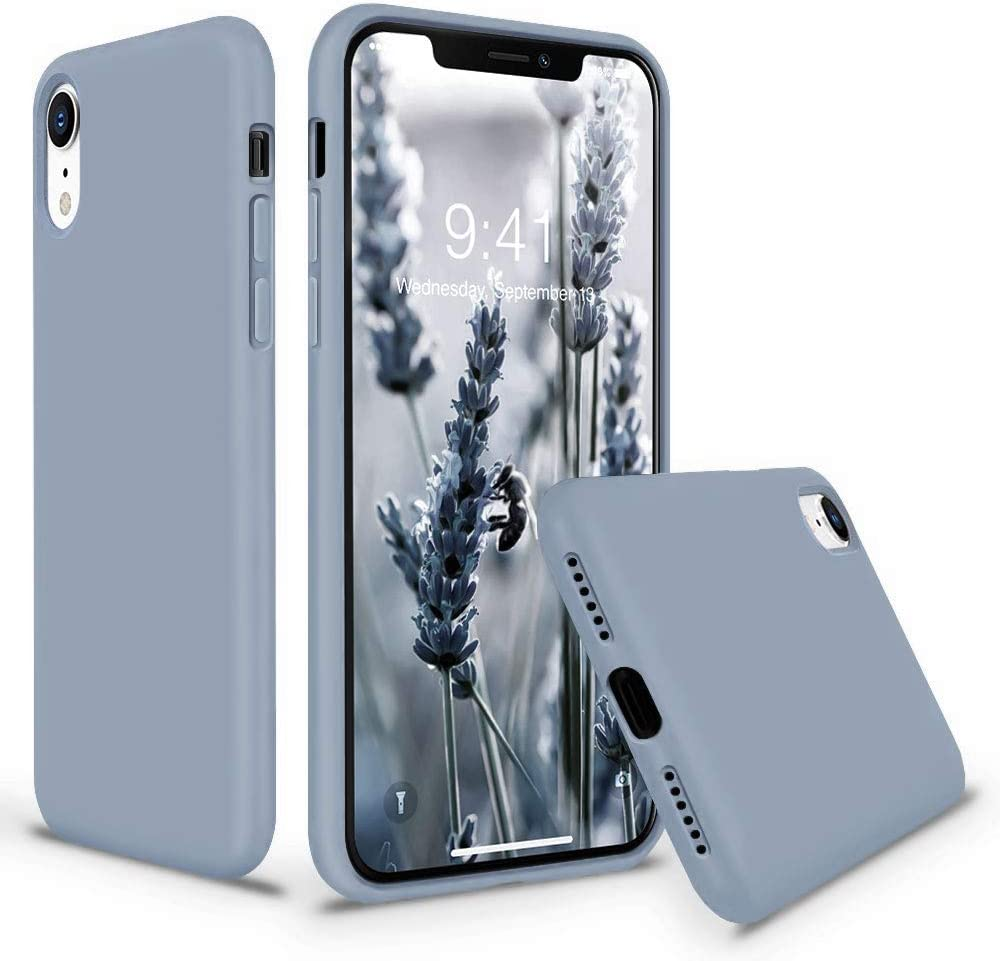 Vooii iPhone XR Case, Soft Liquid Silicone Slim Rubber Full Body Protective iPhone XR Case Cover (with Soft Microfiber Lining) Design for iPhone XR - Lavender Grey