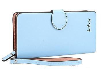 75f2ea06c37bf DNFC Geldbörse Damen Portemonnaie Groß Geldbeutel Lang Portmonee Elegant  Clutch Leder Geldtasche Handgelenktasche mit Reißverschluss für