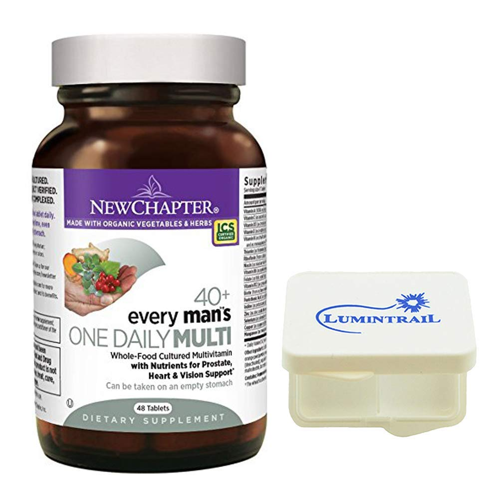 New Chapter Every Man's One Daily 40+ Multivitamin with Vitamins for Prostate, Heart, and Vision - 46 Vegetarian Tablets Bundle with a Lumintrail Pill Case