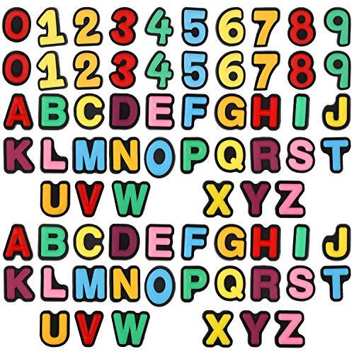 72 Pieces Letters Numbers Shoe Charms Different Shape Shoe Charm PVC Clog Charms for Croc Shoes Wristband Bracelet
