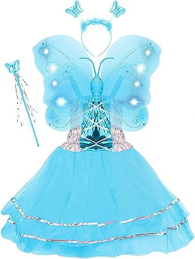 Butterfly Headband /& Wand Set Princess Feather Trim Fairy Dress Up