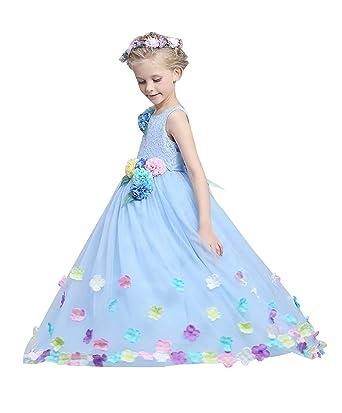 e6e3ff27f4527 Tortor 1bacha(JP) 子供ドレス ロング丈 チュール 女の子 花冠付き 花飾り 花びら