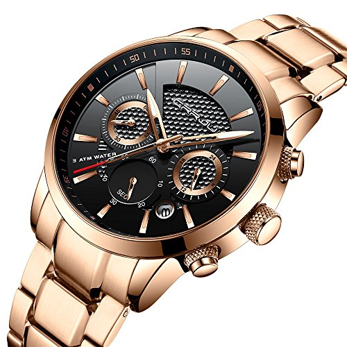 Watch Gold Stainless (Fashion Men's Rose Gold Business Watches Casual Stainless Steel Strap Waterproof Quartz Wrist Watch CJ-2212RG)