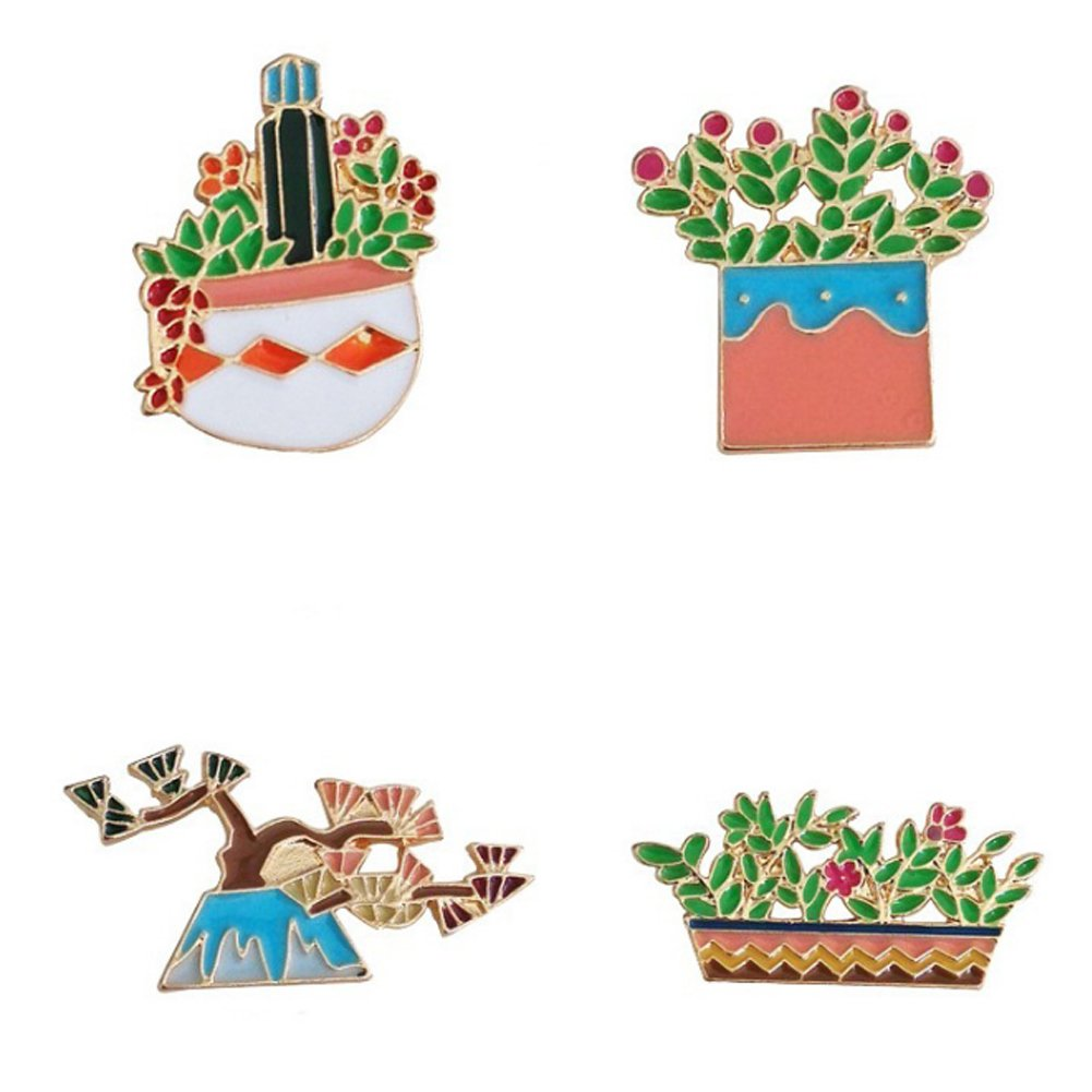 Cartoon Brooch Cute Cactus Plant Enamel Brooches Lapel Pins Badge for Women Girls Children for Clothing Backpack Decor zhuoshuo bp