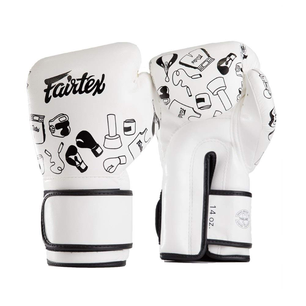 Agelec Adult Unisex Boxing Training Mitten Fighting Muay Thai Professional Breathable Wearable Boxing Gloves Cartoon Graffiti Ultra Light Long Protection Boxing Gloves (Size : 8oz)