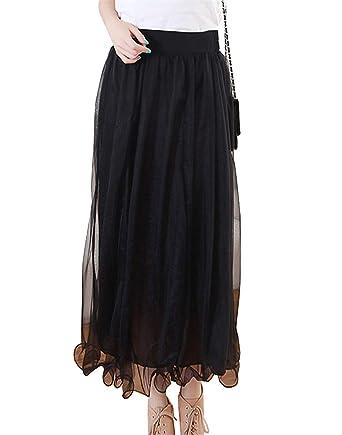 Faldas Falda Larga De Plisada Falda Gasa Mujer para Asimétrica ...