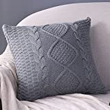 Sanifer Cable Knit Pillow Covers 18x18 Decorative Pillow Cases Cushion Cover for Couch Sofa (Cover Only, Gray)