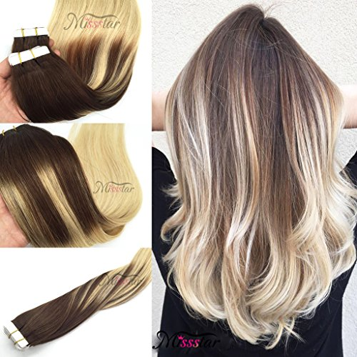 Hairstyle 50 (Missstar Balayage Ombre Medium Brown to Bleached Brown Tape in Remy Human Hair Extensions for Salon Quality Hairstyle 24inches)