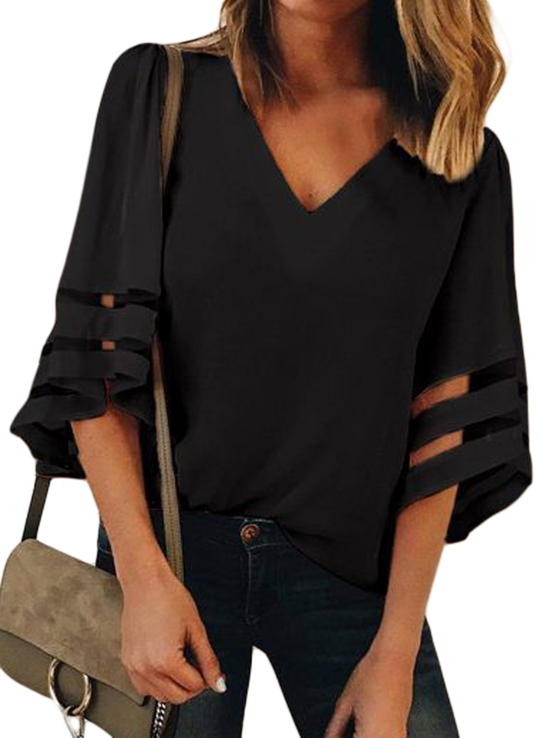 LOSRLY Women V Neck 3/4 Bell Sleeve Casual Blouses and Tops Mesh Patchwork Shirts-Black XL 16 18