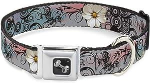 Buckle-Down Seatbelt Buckle Dog Collar - Flowers w/Filigree Pink