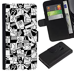 KingStore / Leather Etui en cuir / Samsung Galaxy S3 MINI 8190 / Arte Líneas Hand Drawn Blanco Negro