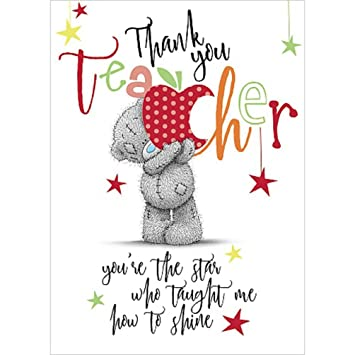 Thank you teacher small carte blanche tatty teddy me to you thank you teacher small carte blanche tatty teddy me to you greeting card m4hsunfo