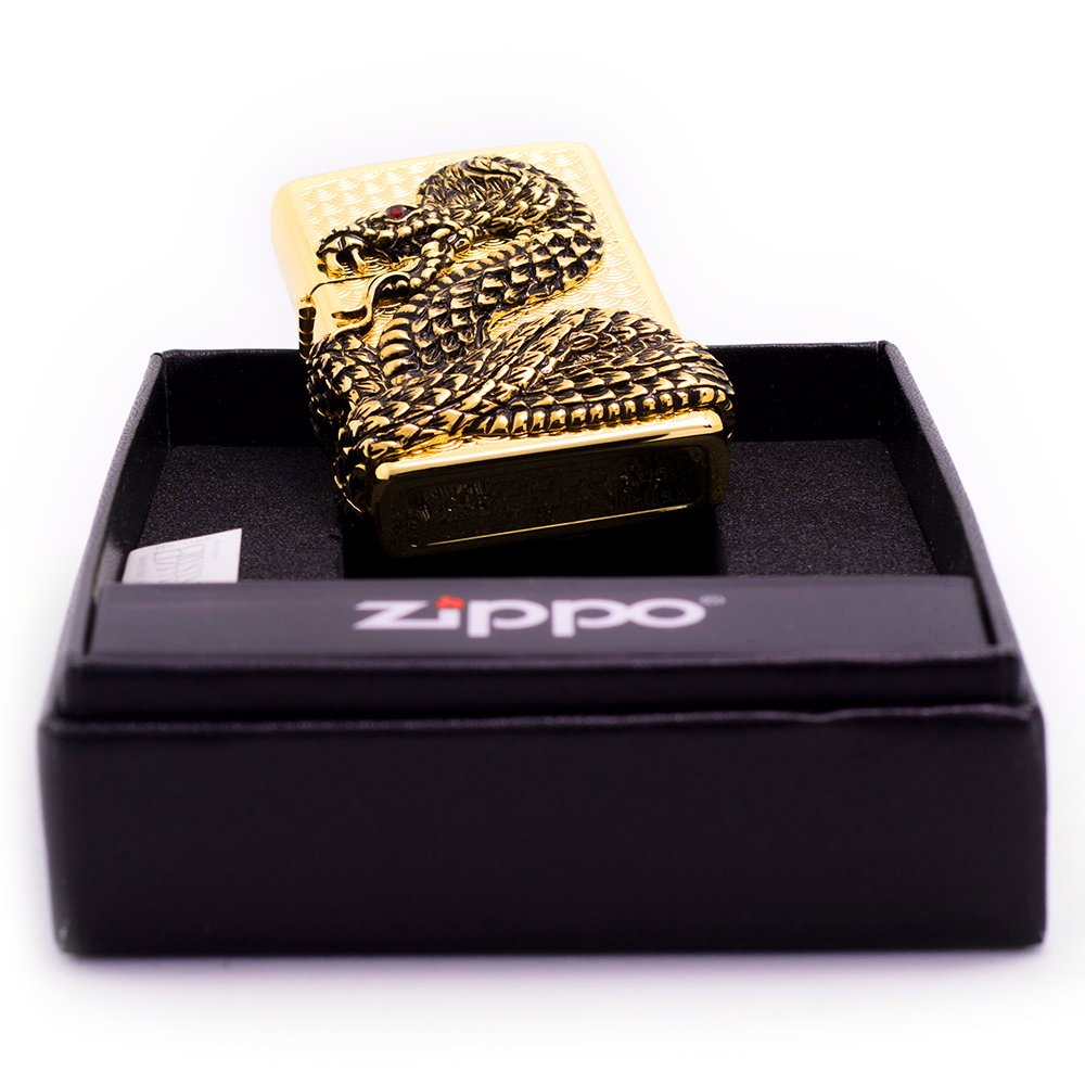 Zippo Snake Coil Gold Lighter / Genuine Authentic / Original Packing (6 Flints set Free Gift) by Zippo (Image #9)