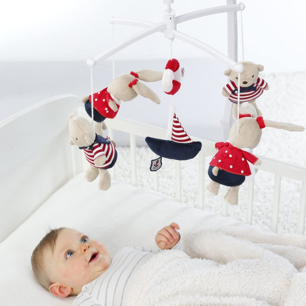 Fehn Musical Mobile Teddies/ Hares (Navy/ Red)