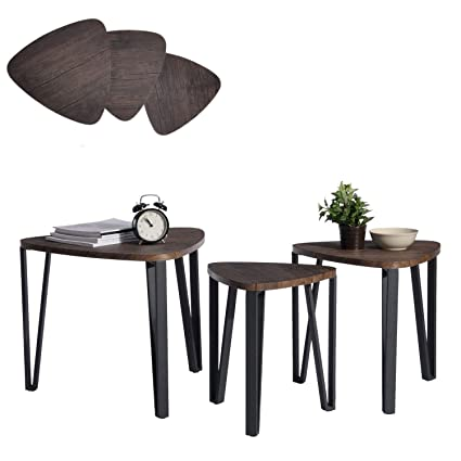 Tavoli Da Soggiorno.Aingoo Tavolini Sovrapponibili Set Di 3 Tavolini Da Caffe Tavoli Da Soggiorno Con Gambe In Ferro Con Design Elegante Comodino
