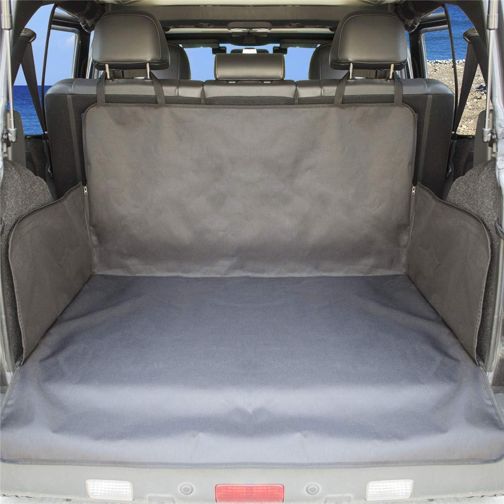 Dog Car Seat Covers Single-Layer Car Rear Trunk Mat Oxford Cloth Dog Mat Trunk Pet Mat with Zipper Fence