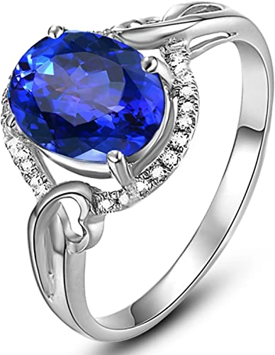 Epinki Gold Plated Ring Womens Promise Engagement Wedding Bands Oval Cubic Zirconia Ring
