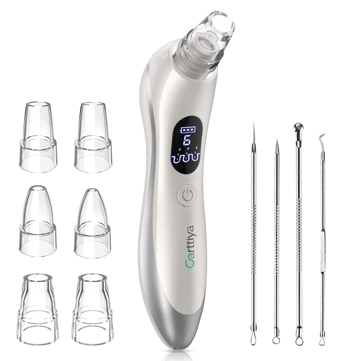 Blackhead Remover, Carttiya Pore Vacuum Cleaner Electric Acne Comedone Extractor with 6 Changeable Probes and 6 Adjustable Suction, LED Display, USB Rechargeable, for Women and Men