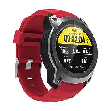 Rungao Reloj inteligente con control de ritmo cardíaco con tarjeta SIM, GPS y WiFi para Android IOS-Rojo: Amazon.es: Deportes y aire libre