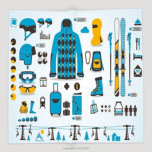 Custom Ski Info Graphics Vector Symbols 122631952 Soft Fleece Throw Blanket (Ski Banshee)