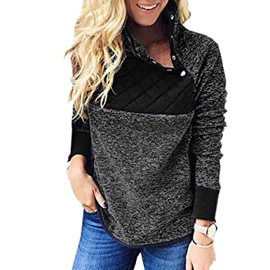 SIEBENEINSY Damen Pullover Langarm Sweatshirt schräg Kragen