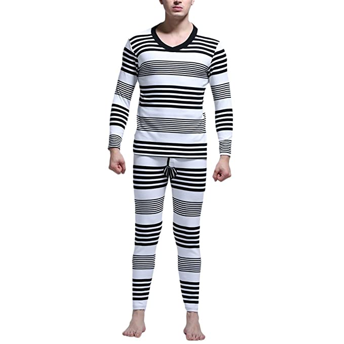 Zhuhaitf Conjunto de ropa interior térmica hombre Mens Stripe Cotton Warm Thermal Underwear Set Winter Base