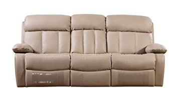 american eagle furniture dunbar collection bonded leather reclining sofa with pillow top armrests tan