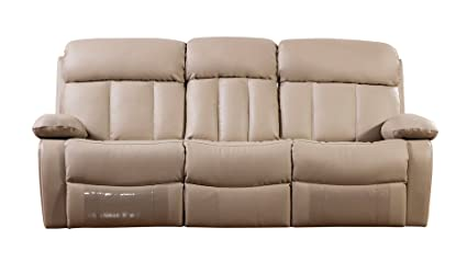 American Eagle Furniture Dunbar Collection Bonded Leather Reclining Sofa  With Pillow Top Armrests, Tan