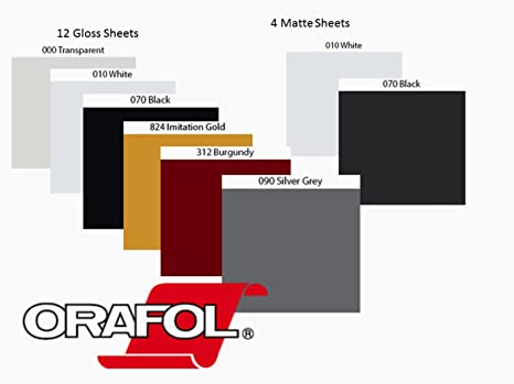 Amazon Com Oracal 651 Sample Vinyl Bundle 8 Colors 16 Sheets 12x12 Glossy Brugandy Black White Gold Silver And Transparent Matte Black And White Arts Crafts Sewing