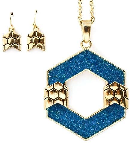 Amazon com: Rose's Gift Store~Fashion Jewelry Blue Hexagon