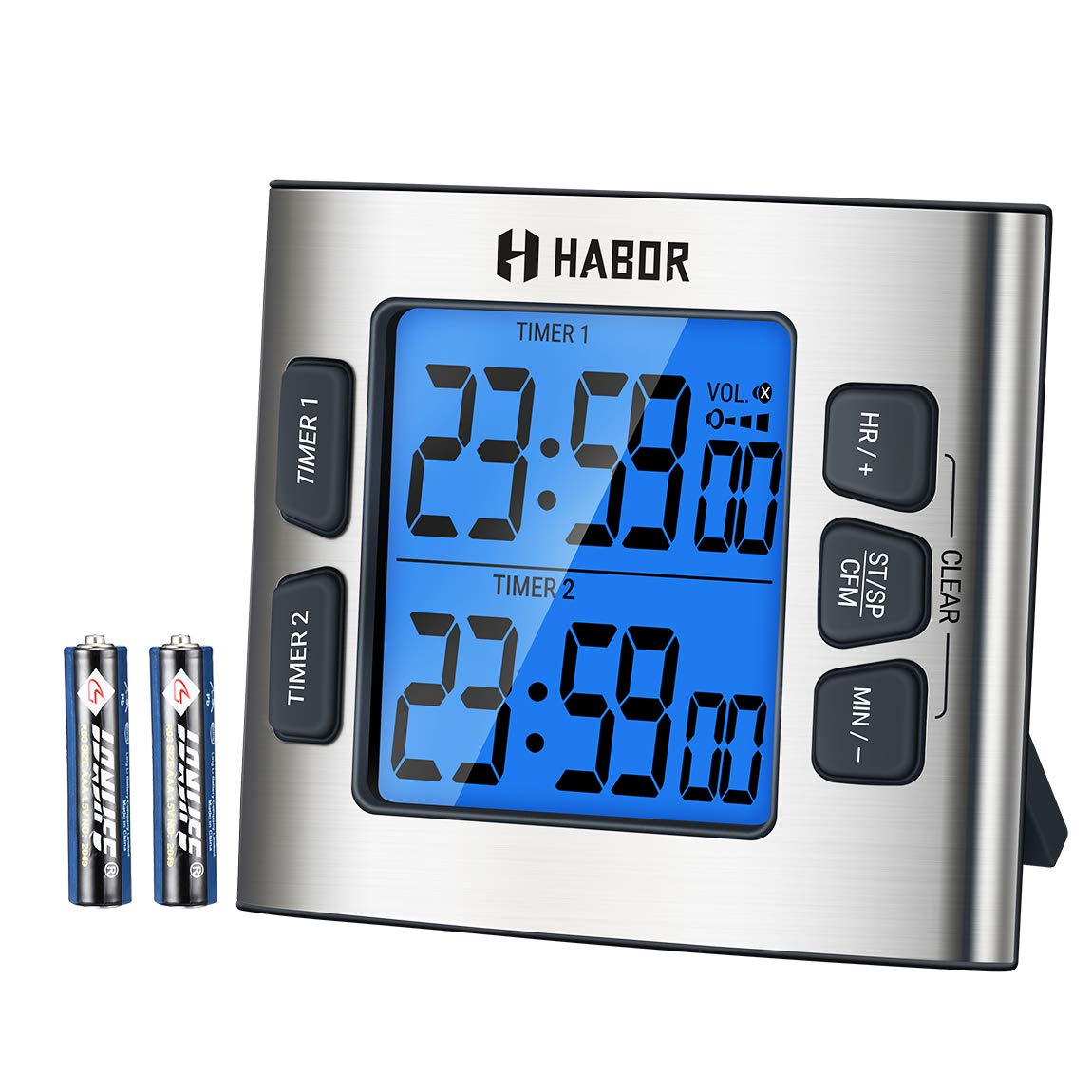 Habor Kitchen Timer, Cooking Dual Timer with Calendar Clock, 4-Level Adjustable Alarm Volume, Larger Backlit Display, Stronger Magnets, Count-up & Countdown for Cooking etc (Battery Included)