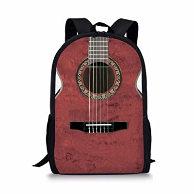 Instantarts Vintage Musical Guitar Kids School Backpack Bookbag for Girl Boy