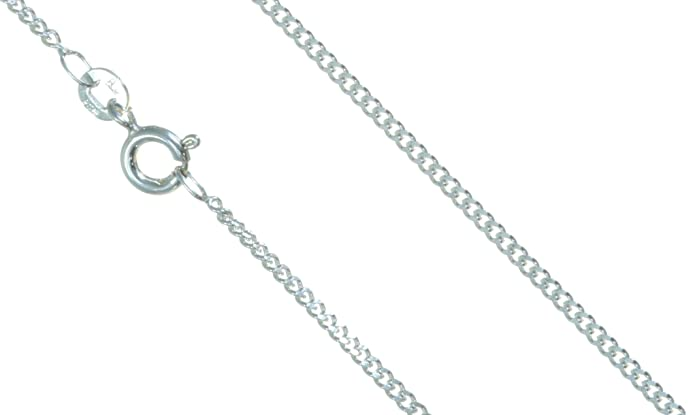 Silver 1.3mm wide bright cut Curb Pendant Chain 18-24 Inches OpUvZJqiUf