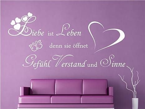 Wandtattoo Liebe ist Leben Sprüche Schlafzimmer Wohnzimmer M2054 schwarz  120cm x 57cm