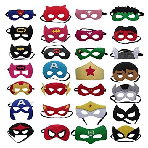 Superheroes Party Masks 28 pcs: High Quality, Comfortable, Fun Super Hero Masks Party Supplies – Great for Any Party or Event – For Children Ages 3+